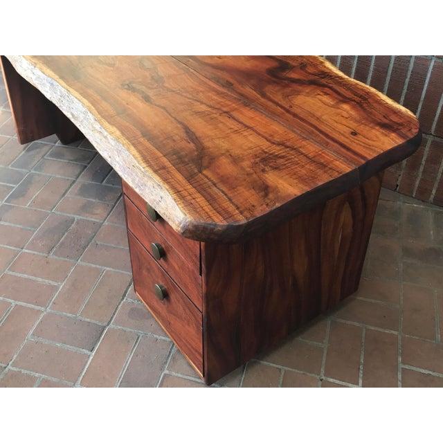 1970s 1970s Primitive Wood Slab Executive Desk For Sale - Image 5 of 10
