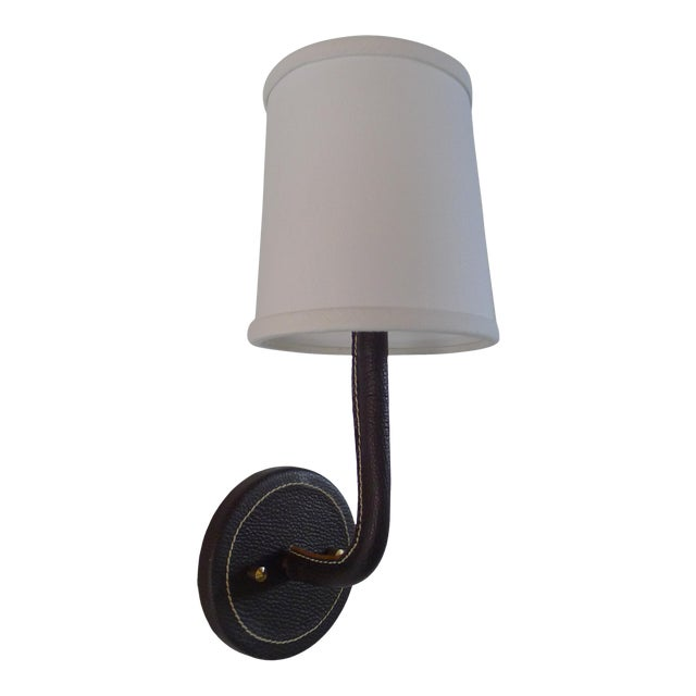 Paul Marra Top-Stitched Leather Wrapped Sconce in Brown For Sale
