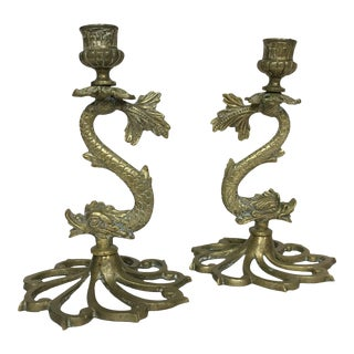 Asian Dragon Brass Candle Holders - A Pair
