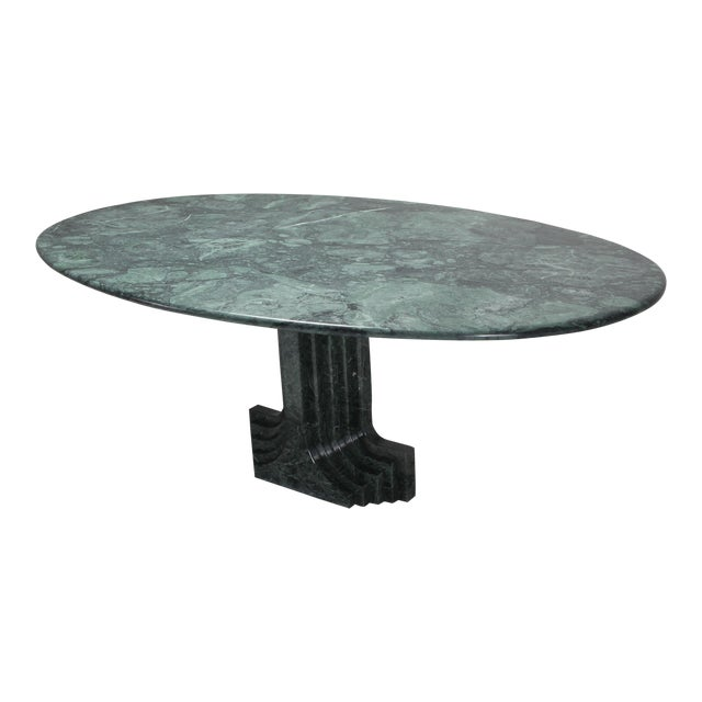 Carlo Scarpa Dining Table 'Samo' in a Rare Green Marble For Sale