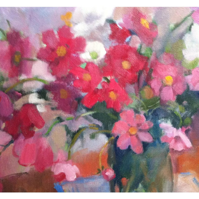 """""""Cosmo Mix"""" is a print of cut flowers from her garden, by Amy Griffith Colley. This is a print (giclee) of the original..."""