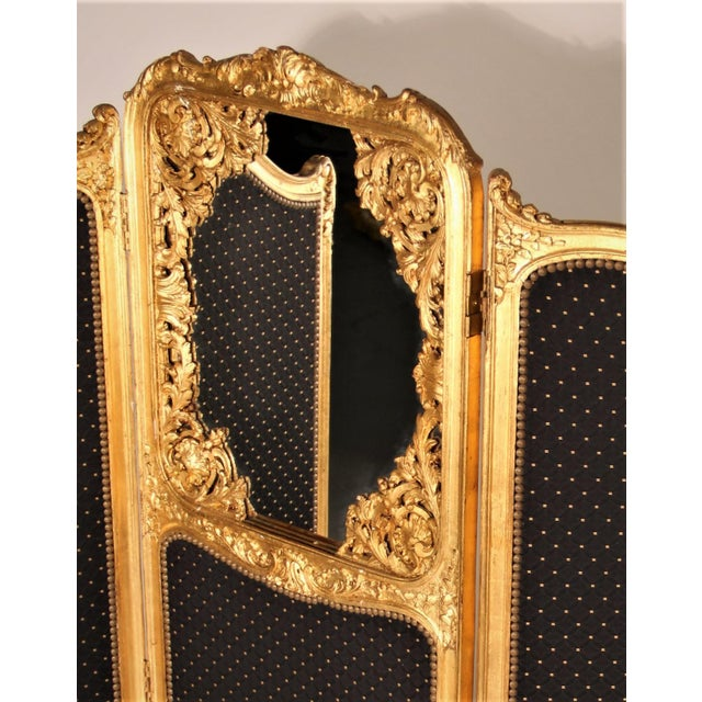 Wood Late 19th Century French Louis XVI Style Three-Fold Gilt-Wood Floor Screen For Sale - Image 7 of 8