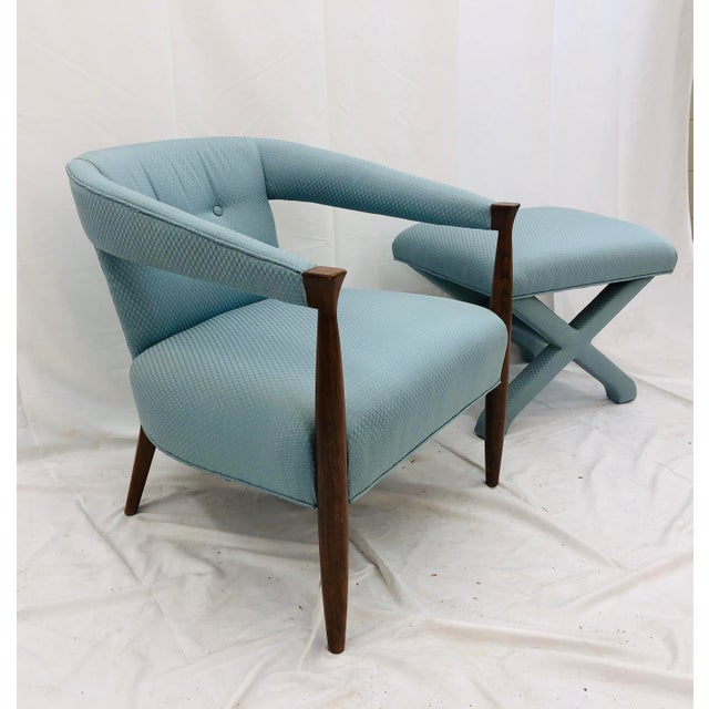 Hollywood Regency Vintage Mid Century Modern Arm Chair & Ottoman For Sale - Image 3 of 13