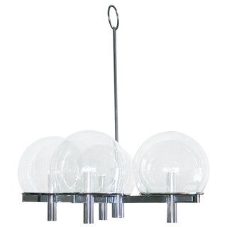 Five Arm Chrome and Smoked Glass Globes Chandelier by Gaetano Sciolari For Sale