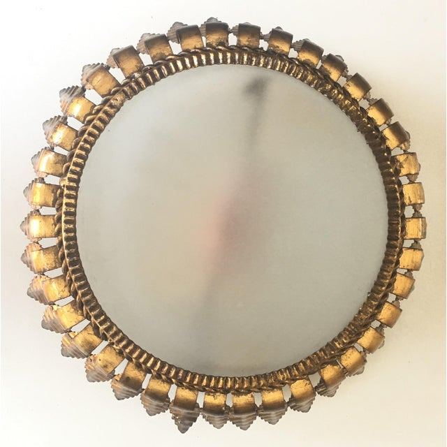 Gilt Metal Sunburst Crown Ceiling Fixture with Frosted Glass For Sale In Miami - Image 6 of 6