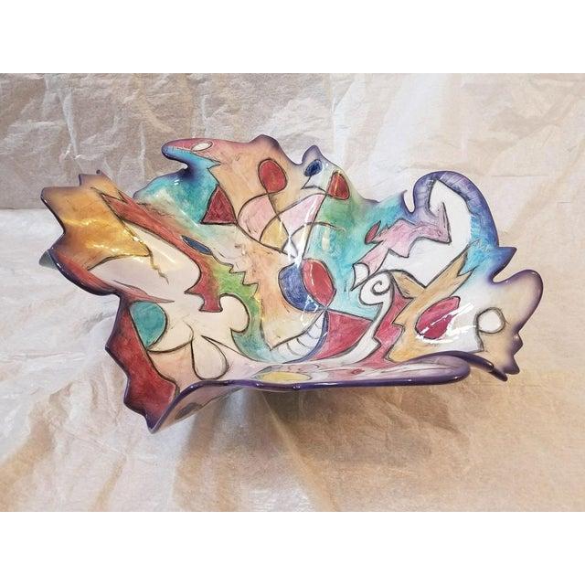 1990s 1998 Vintage Harris Cies Art Pottery Bowl Centerpiece Design For Sale - Image 5 of 5