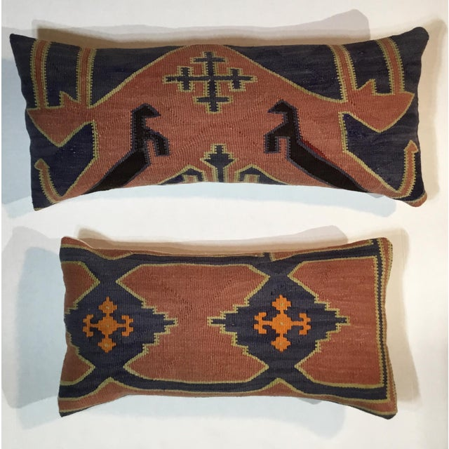 Contemporary 1960s Mediterranean Kazak Cotton Pillows - a Pair For Sale - Image 3 of 13