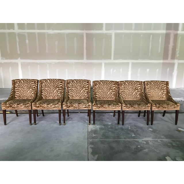 1940s Vintage Hollywood Regency Armless Dining Side Chairs - Set 6 For Sale - Image 12 of 12