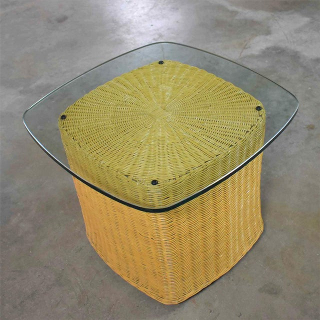 Rattan Wicker Organic Modern Side Table With Thick Glass Top For Sale - Image 9 of 13