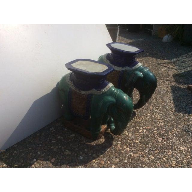 Pair of Antique Chinese Ceramic Elephant Garden Stools For Sale In San Antonio - Image 6 of 10