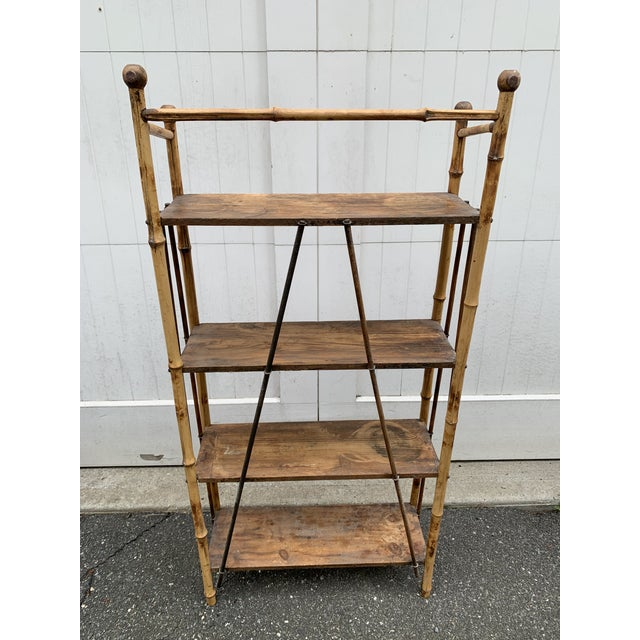 Mid 20th Century Antique Burnt Bamboo Shelf For Sale - Image 5 of 13