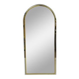 Italian Maison Jansen Style Steel Brass Chrome Arched Console Wall Mirror For Sale