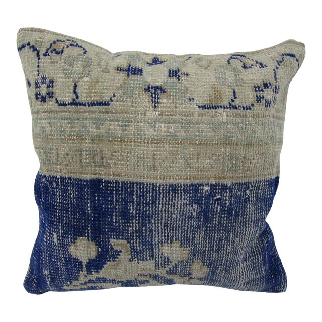 Turkish Navy & Beige Vintage Pillow Cover For Sale