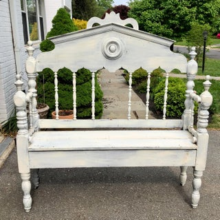 1950s Vintage Rustic Whitewashed Pine Bench Preview