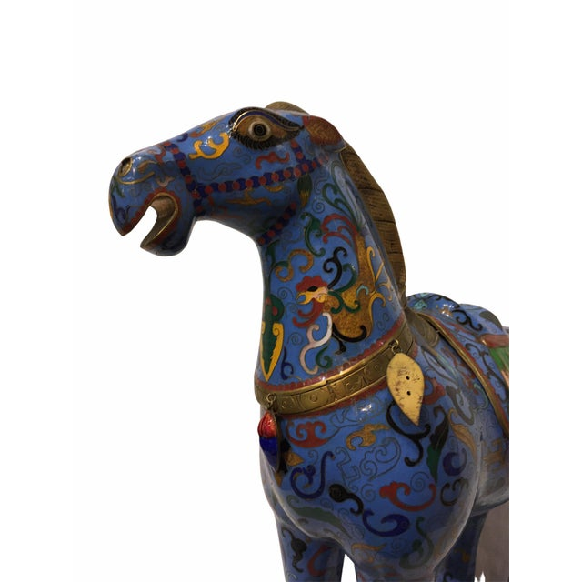 Vintage Chinese Cloisonné Horse Statue For Sale - Image 11 of 13