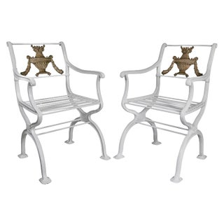 American Cast Iron Armchairs - a Pair For Sale