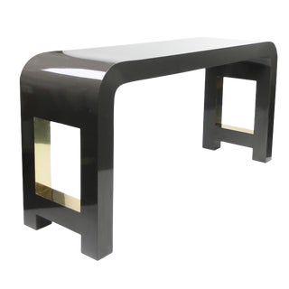 1980s Postmodern Gray and Brass Laminate Waterfall Console Table For Sale