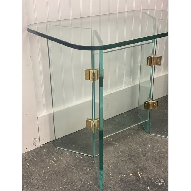 Postmodern Vintage Glass Side Tables With Gold Hardware For Sale - Image 3 of 4