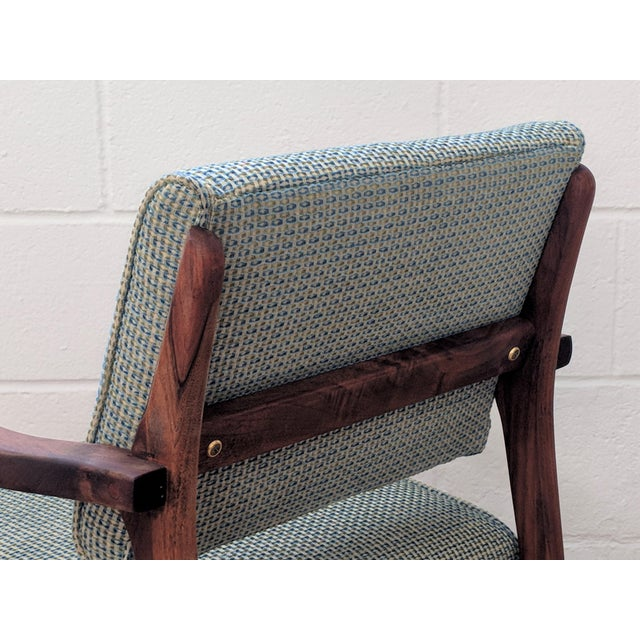 Turquoise 1960s Restored Vintage Armchair For Sale - Image 8 of 11