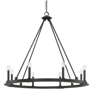 Pearson 12 Light Iron Chandelier For Sale