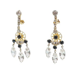Delizza & Elster Faux-Sapphire & Marquise Rhinestone Chandelier Earrings - a Pair For Sale