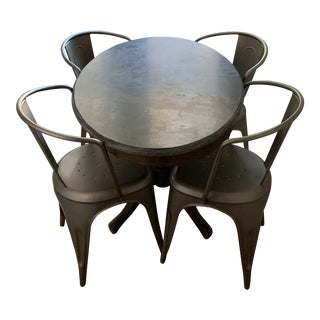 Industrial Restoration Hardware Bluestone Dining Set - 5 Pieces For Sale