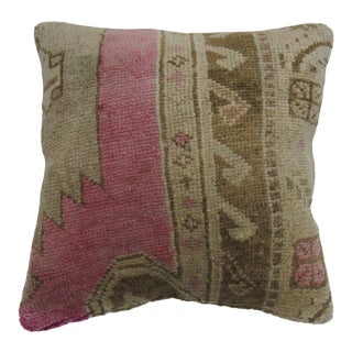 Bright Pink Vintage Turkish Wool Rug Pillow, 18'' Square For Sale