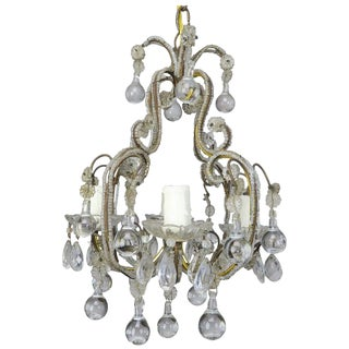 French Crystal Beaded Chandelier W/ Clear Drops C. 1930's For Sale
