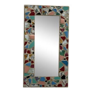 Handcrafted Mosaic Accent Wall Decor Mirror With Vintage Ceramic Tiles For Sale