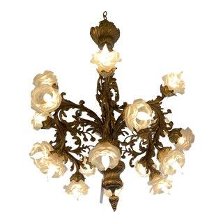 Rococo 18-Light Cast Gilt Bronze Chandelier For Sale