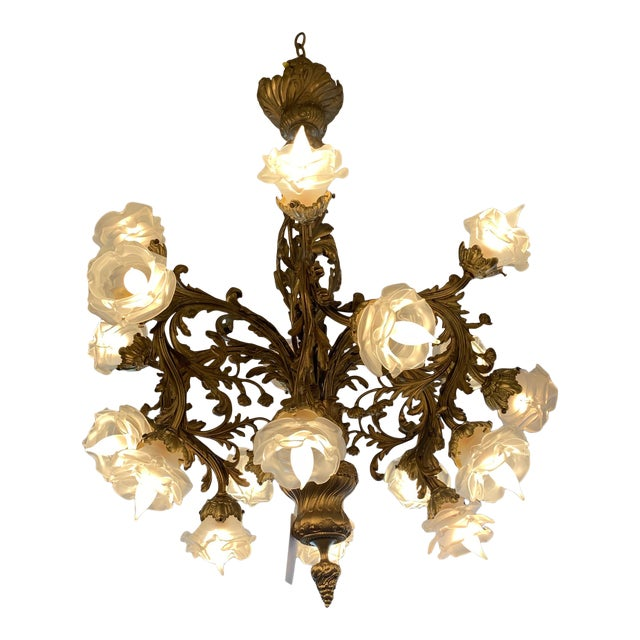 Rococo 18-Light Cast Gilt Bronze Chandelier For Sale