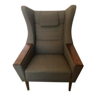 Danish Modern Wingback Oak & Olive Lounge Chair
