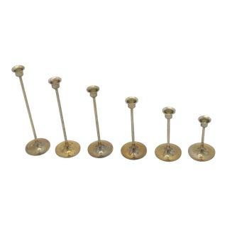 1950s Danish Modern Brass Candlesticks - Set of 6 For Sale