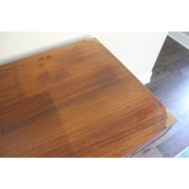 Brown Campaign Style Rosewood & Brass Inlay Desk For Sale - Image 8 of 8