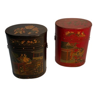 Chinese Painted End Table Nightstands With Storage For Sale