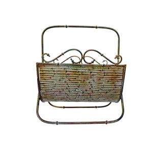 Faux Bamboo Forged Iron Tole Magazine Rack For Sale