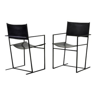 Set of Two Mid-Century Dutch Design Black Leather and Metal Dining Chairs Ag-6 by Albert Geertjes, the Netherlands, 1984 For Sale