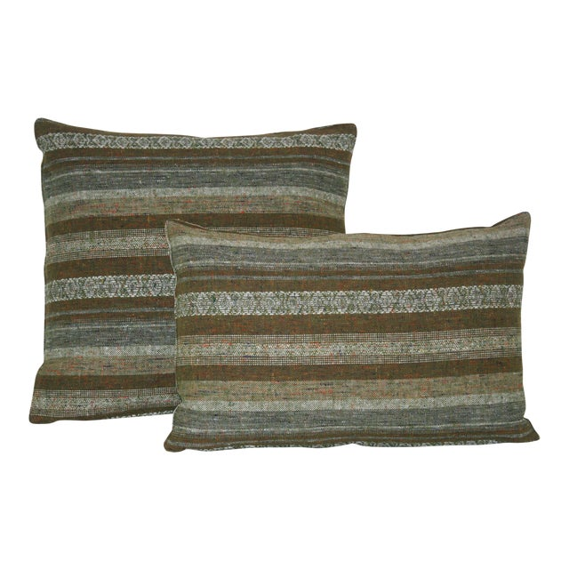 1960's Contemporary Striped Green Wool Pillows - a Pair For Sale