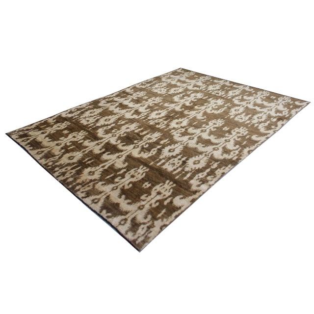 Contemporary Hand Knotted Modern Ikat Rug - 5′ × 10′5″ For Sale - Image 3 of 5