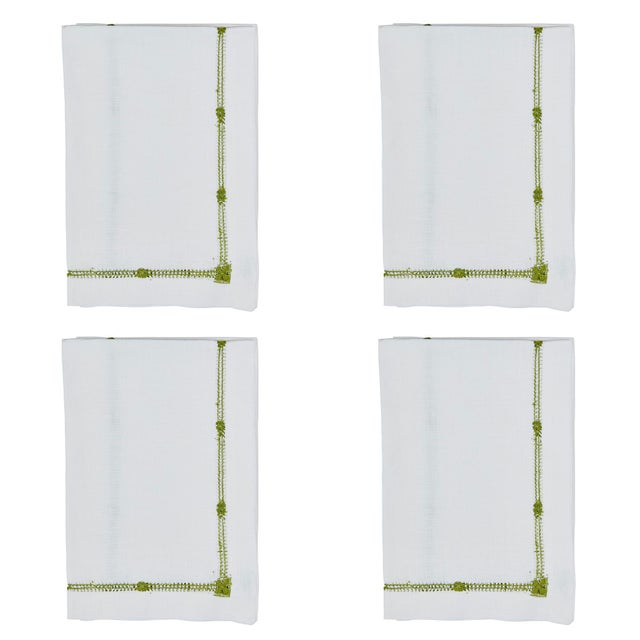Traditional Olive Flower Hemstitch Dinner Napkins - Set of 4 For Sale - Image 3 of 3