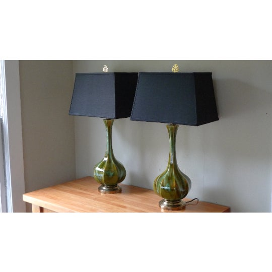 Table Lamps (Pair) Mid-Century Tapered Blown Glass in Murano Style Swirl of Colors For Sale - Image 11 of 11