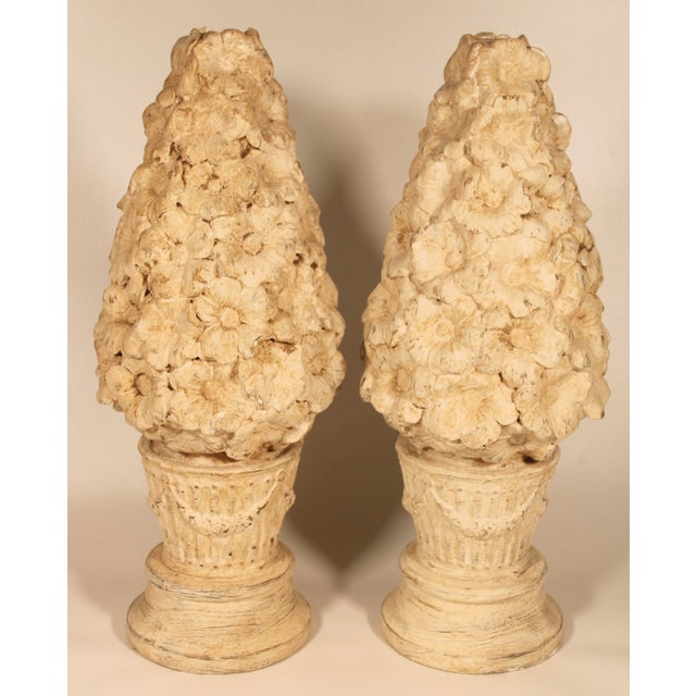 Hollywood Regency 1970s Ceramic Floral Mantle Topiaries or Garden Statues - a Pair For Sale - Image 3 of 13