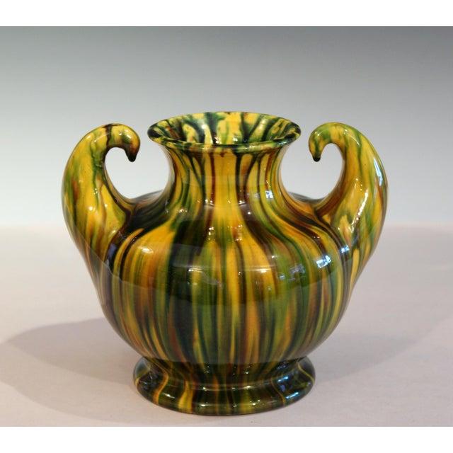"Awaji Vintage Japanese Studio Pottery Yellow Flambe"" Muscle"" Vase For Sale - Image 10 of 10"