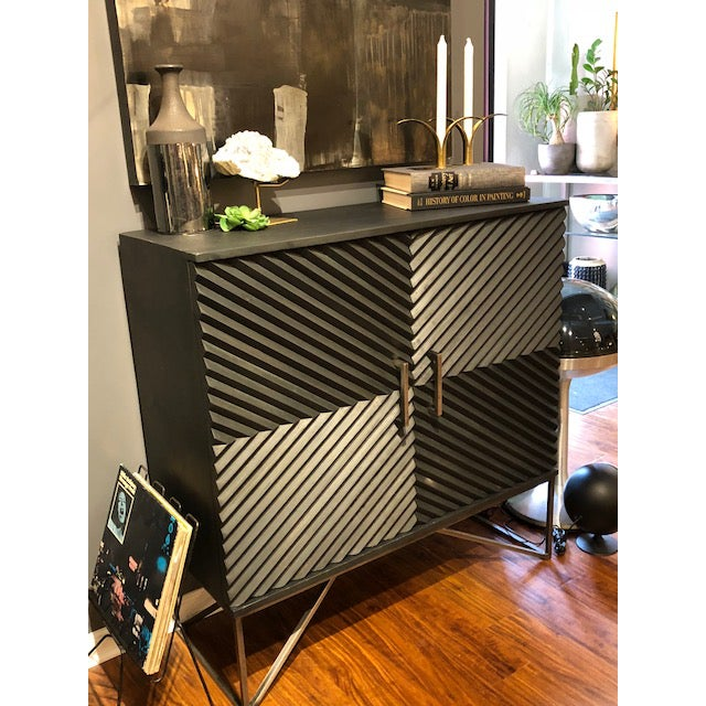 Black Geometric Wood Two Door Cabinet For Sale In Chicago - Image 6 of 12