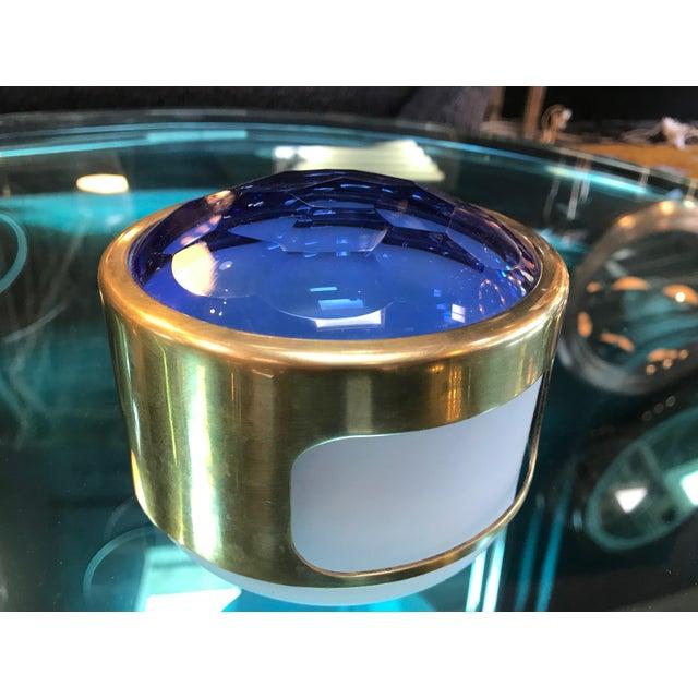 Round Brass Decorative Box with Blue Glass , Italy 1960s
