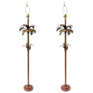 Pair of Original Palm Beach Painted Tole Floor Lamps, C.1960 For Sale