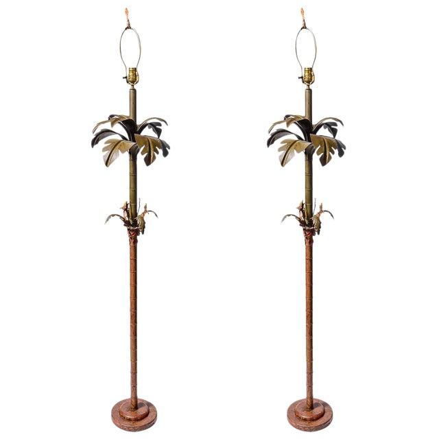 Pair of Original Palm Beach Painted Tole Floor Lamps, C.1960 For Sale