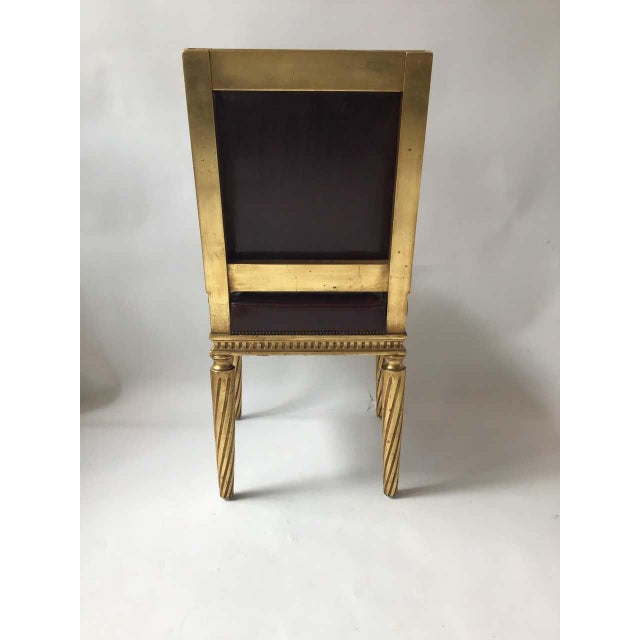 French Style Louis XVI Giltwood/ Leather Dining Chairs- Set of 4 For Sale - Image 10 of 13