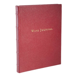 Wine Journal Tabbed, Goatskin in Garnet For Sale