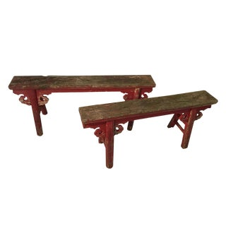 19th C. Red Chinese Benches - A Pair